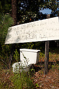 August 6, 2010. New Hill, North Carolina.. A sign voicing oppostion to the waste water treatment plant sits in the front yard of a New Hill resident.. A coalition composed of the towns of Cary, Apex, Morrisville and Holly Springs has proposed to build a waste water treatment plant in the unincorporated town of New Hill, in southern Wake County.. The residents only found out about the proposed site through a Cary resident and have been fighting the plant ever since as it brings no benefits to their town, only to the larger members of the coaltition.