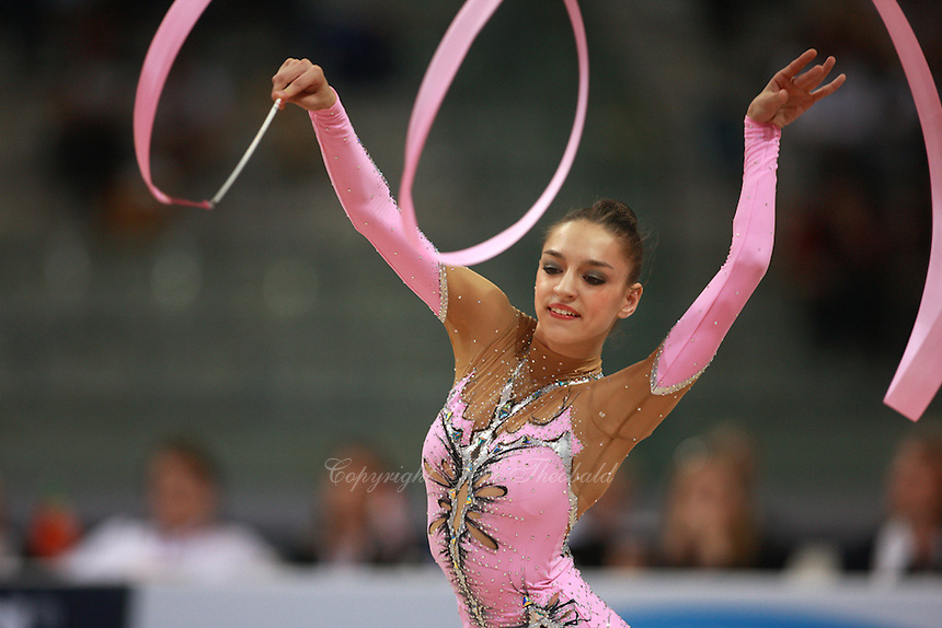 Evgenia Kanaeva of Russia performs with ribbon on way to winning All-Around gold at 2008 European Championships at Torino, Italy on June 6, 2008.  Photo by Tom Theobald.