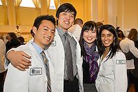 Class of 2015 White Coat Ceremony. Andrew Nobe, from left, Kyung Min, Chieh Kuo, Anisha Patel.
