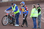 Heat 2: Shane Hazleden leaves the track having crashed out - Hackney Hawks vs Team America - Speedway Challenge Meeting at Rye House - 09/04/11 - MANDATORY CREDIT: Gavin Ellis/TGSPHOTO - Self billing applies where appropriate - Tel: 0845 094 6026