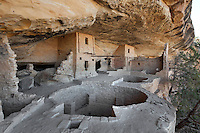 Kivas at Balcony House, 13th century, a Native American Puebloan dwelling in Mesa Verde National Park, Montezuma County, Colorado, USA. The house contains 45 rooms and 2 kivas, is made from sandstone blocks, mortar and wooden beams and is well defended due to its only access involving a cliff climb. Mesa Verde is the largest archaeological site in America, with Native Americans inhabiting the area from 7500 BC to 13th century AD. It is listed as a UNESCO World Heritage Site. Picture by Manuel Cohen