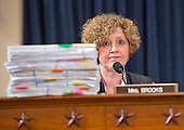 United States Representative Susan Brooks (Republican of Indiana) shows off a stack of e-mails as former US Secretary of State Hillary Rodham Clinton, a candidate for the 2016 Democratic Party nomination for President of the United States, testfies before the US House Select Committee on Benghazi on Capitol Hill in Washington, DC on Thursday, October 22, 2015.<br /> Credit: Ron Sachs / CNP<br /> (RESTRICTION: NO New York or New Jersey Newspapers or newspapers within a 75 mile radius of New York City)