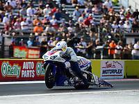 Sept. 22, 2012; Ennis, TX, USA: NHRA pro stock motorcycle rider Hector Arana Jr during qualifying for the Fall Nationals at the Texas Motorplex. Mandatory Credit: Mark J. Rebilas-US PRESSWIRE