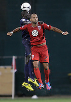 WASHINGTON, DC - July 28, 2012:  Maicon Santos (29) of DC United beaten on a header by Mamadou Sakho (3) of PSG (Paris Saint-Germain) in an international friendly match at RFK Stadium in Washington DC on July 28. The game ended in a 1-1 tie.