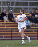 Boston College midfielder Caroline Martignetti (5) brings the ball forward. Boston College defeated University of Vermont, 15-9, at Newton Campus Field, April 4, 2012.