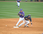 Ole Miss' Austin Anderson (8) is safe at second vs. Lipscomb's Noah Chandler (21) drops the ball on a potential double play at Oxford-University Stadium in Oxford, Miss. on Saturday, March 9, 2013. Ole Miss won 8-5. The win was the 486th for Mike Bianco as the Rebel head coach, making him the university's all time winningest baseball coach.