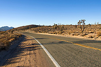 A road running through the Mojave Desert, California.