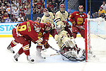 07 APR 2012:  Garrett Thompson (16) of Ferris State University slips a goal past Goalie Parker Milner (35) of Boston College during the Division I Men's Ice Hockey Championship held at the Tampa Bay Times Forum in Tampa, FL.  Boston College defeated Ferris State 4-1 to win the national title.  Matt Marriott/NCAA Photos