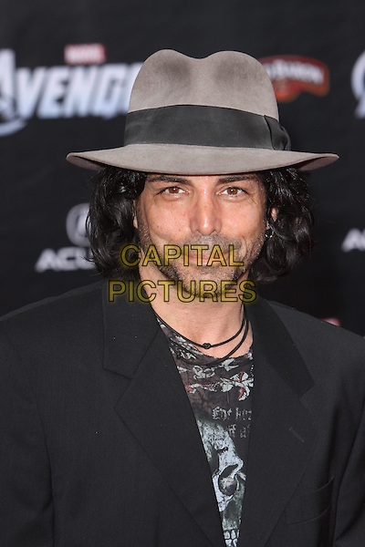 """Richard Greico.""""Marvel's The Avengers"""" World Premiere held at the El Capitan Theatre, Hollywood, California, USA..April 11th, 2012.headshot portrait grey gray print hat stubble necklaces black  facial hair   .CAP/ADM/CH.©Charles Harris/AdMedia/Capital Pictures"""