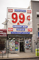 99 cent store on Graham Avenue in the Bushwick neighborhood of Brooklyn in New York on Sunday, June 16, 2013. As more and more hipsters move into the neighborhood the ethnicity of the area is changing.   (© Richard B. Levine)