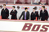 Stephen Greenberg (BC - Senior Manager), Chris Malloy (BC - Student Manager), Samson Lee (BC - Video Coordinator), Neal Ratto (BC - Student Manager), Kevin Pratt (BC - Student Manager) - The Boston College Eagles defeated the visiting University of Toronto Varsity Blues 8-0 in an exhibition game on Sunday afternoon, October 3, 2010, at Conte Forum in Chestnut Hill, MA.