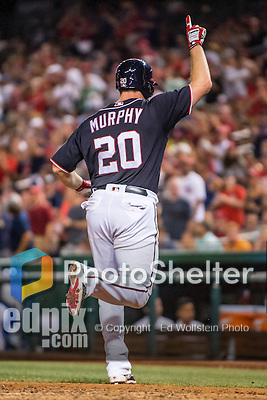 22 July 2016: Washington Nationals infielder Daniel Murphy celebrates a solo home run in the 8th inning against the San Diego Padres at Nationals Park in Washington, DC. The Padres defeated the Nationals 5-3 to take the first game of their 3-game, weekend series. Mandatory Credit: Ed Wolfstein Photo *** RAW (NEF) Image File Available ***