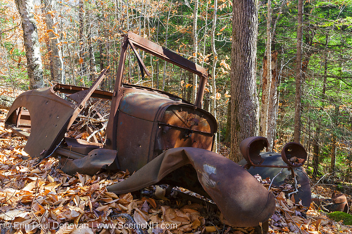 Rusted car in the Eastman Brook drainage of Thornton, New Hampshire USA