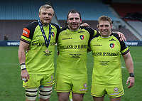 Leicester Tigers&rsquo; Luke Hamilton Leicester Tigers&rsquo; Fraser Balmain and Leicester Tigers&rsquo; Tom Youngs<br /> <br /> Photographer Rachel Holborn/CameraSport<br /> <br /> Anglo-Welsh Cup Final - Exeter Chiefs v Leicester Tigers - Sunday 19th March 2017 - The Stoop - London<br /> <br /> World Copyright &copy; 2017 CameraSport. All rights reserved. 43 Linden Ave. Countesthorpe. Leicester. England. LE8 5PG - Tel: +44 (0) 116 277 4147 - admin@camerasport.com - www.camerasport.com