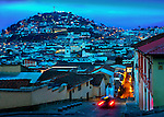 The statue of the Virgin Mary sits atop the El Panecillo hill overlooking the steep streets of the Old Town or Centro Historico of Quito, Ecuador.  The historic center of Quito was declared a UNESCO World Cultural Heritage Site in 1978 because it is one of the largest, least-altered and best preserved historic centers in the Americas.