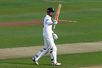 Alastair Cook of Essex celebrates scoring a century, 100 runs during Essex CCC vs Hampshire CCC, Specsavers County Championship Division 1 Cricket at The Cloudfm County Ground on 19th May 2017