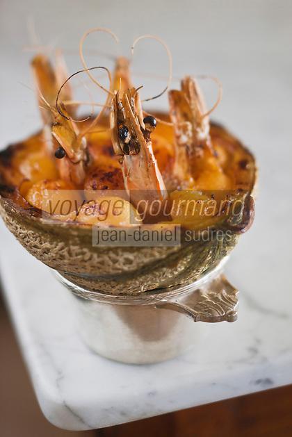 Europe/France/Provence-Alpes-Côte d'Azur/84/Vaucluse/Lubéron/Cavaillon: Melon cocotte aux gambas , recette de Jean-Jacques Prévôt, restaurant: Prévôt