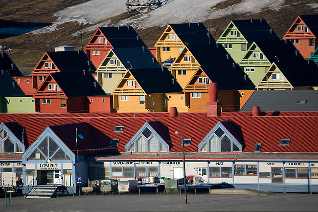 Graphic roof lines from the buildings in the centre of Longyearbyen. Spitsbergen