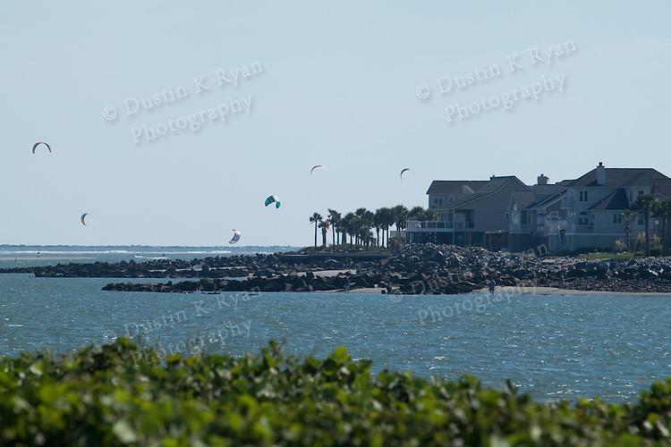 Kiteboarding at Breach Inlet Sullivans Island South Carolina