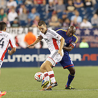 Foxborough, Massachusetts - July 30, 2014: In a Major League Soccer (MLS) match, the New England Revolution (white) defeated Colorado Rapids (blue), 3-0, at Gillette Stadium.