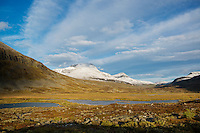 Autumn view over scenic mountain landscape from Singi mountain hut, Kungsleden trail, Lappland, Sweden