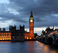 Big Ben, 1858, clock tower of Palace of Westminster or Houses of Parliament, London, UK, 1840-60, by Sir Charles Barry and Augustus Pugin. The Gothic Perpendicular building replaced its predecessor, destroyed by fire, 1834. The 96.3 metre high clock tower is named after its largest bell, Big Ben. Westminster Bridge, road and foot traffic bridge, 1862, Thomas Page and Charles Barry visible on the right. Picture by Manuel Cohen