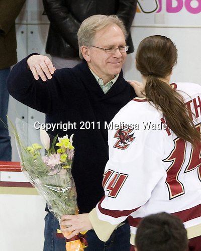 Richard Kurth, Katelyn Kurth (BC - 14) - The Boston College Eagles and the visiting University of New Hampshire Wildcats played to a scoreless tie in BC's senior game on Saturday, February 19, 2011, at Conte Forum in Chestnut Hill, Massachusetts.