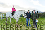 Sive Purcell, Stuart Purcell and Pat Murphy with Stacky the Horse at the Kingdom Cup Coursing Meet at Ballybeggan on Tuesday