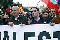 Roma  18 Febbraio 2006.Manifestazione per la Palestina .Marco Rizzo e Oliviero Diliberto del PdCI (Partito dei Comunisti Italiani).Rome, February 18, 2006 .Demonstration for Palestine.Marco Rizzo e Oliviero Diliberto  of the Party of Italian Communists.