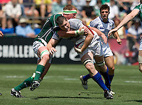 31 May 2009: Hayden Smith of USA rushes the ball away from Ireland defender during the Rugby game at Buck Shaw Stadium in Santa Clara, California.   Ireland defeated USA, 27-10.