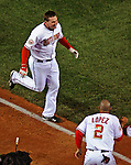 30 March 2008: Washington Nationals' third baseman Ryan Zimmerman trots home after hitting a game-winning, walk-off solo home run in the bottom of the ninth inning as the Nationals defeat the Atlanta Braves 3-2, capping off the inauguration of Nationals Park in Washington, DC. The win christened the new state-of-the-art ballpark to a sellout crowd of 39,389...Mandatory Photo Credit: Ed Wolfstein Photo