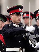 Prince William takes part in the Sovereign's Parade at the Royal Military Academy, Sandhurst..Picture: UK Press