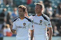 Los Angeles Galaxy forward Mike Magee (18) celebrates with Los Angeles Galaxy forward Chad Barrett (11) after the game. The San Jose Earthquakes tied the Los Angeles Galaxy 0-0 at Buck Shaw Stadium in Santa Clara, California on June 25th, 2011.