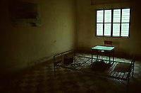 An interrogation cell in the Tuol Sleng museum, formerly the S-21 Khmer Rouge detention centre, where over 16,000 inmates were killed between 1975 and 1979.