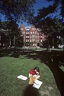 Cambridge, MA, September 1986. Harvard University, established in 1636, is the oldest institution of higher learning in the United States. Harvard's history, influence, and wealth have made it one of the most prestigious universities in the world. Everyday life in the campus during Summer.