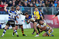 Anthony Watson of Bath Rugby takes on the Wasps defence. Aviva Premiership match, between Bath Rugby and Wasps on March 4, 2017 at the Recreation Ground in Bath, England. Photo by: Patrick Khachfe / Onside Images
