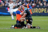 Henry Thomas of Bath Rugby is treated for a knock during a break in play. European Rugby Champions Cup match, between Bath Rugby and Leinster Rugby on November 21, 2015 at the Recreation Ground in Bath, England. Photo by: Rogan Thomson / JMP for Onside Images