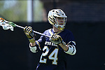 DURHAM, NC - APRIL 08: Notre Dame's Mikey Wynne. The Duke University Blue Devils hosted the University of Notre Dame Fighting Irish on April 8, 2017, at Koskinen Stadium in Durham, NC in a Division I College Men's Lacrosse match. Duke won the game 11-8.
