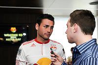 Matt Kassel (15) of the New York Red Bulls is interviewed on Media Day at Red Bull Arena in Harrison, NJ, on March 15, 2011.