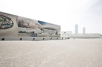 Qatar - Doha - Education City. Billboard showing the projects under construction.
