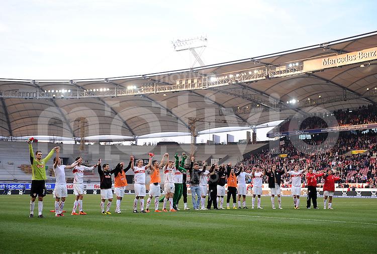 Fussball 1. Bundesliga:  Saison   2010/2011    25. Spieltag VfB Stuttgart - FC Schalke 04   05.03.2011 Stuttgart Jubel nach dem Sieg