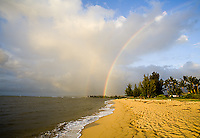 Rainbow over Waialua Beach, North Shore of Oahu