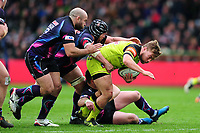 Jack Roberts of Leicester Tigers takes on the Exeter Chiefs defence. Anglo-Welsh Cup Final, between Exeter Chiefs and Leicester Tigers on March 19, 2017 at the Twickenham Stoop in London, England. Photo by: Patrick Khachfe / JMP