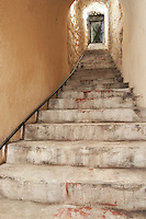 stairs down to the underground cellar bodegas frutos villar , cigales spain castile and leon