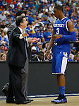 Terrence Jones receives coaching from John Calipari in the championship of the 2011 SEC Tournament between Kentucky and Florida, played at the Georgia Dome, Sunday, March 13, 2011.  Photo by Latara Appleby | Staff