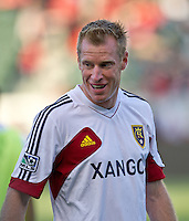 CARSON, CA - June 16, 2012: Real Salt Lake midfielder Nat Borchers (6) prior to the Chivas USA vs Real Salt Lake match at the Home Depot Center in Carson, California. Final score Real Salt Lake 3, Chivas USA 0.