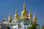 Travel stock photo of Golden cupola of the Mother of God Assumption church on the territory of Kievo-pecherskaya lavra - Kiev pechersk lavra - Cave monastery in Kiev Ukraine Eastern Europe Architecture in Ukrainian baroque architectural style Largest monastery in Russia Horizontal orientation May 2007