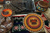 HOPI Shifter Baskets n Parched Corn, wicker basket, Piki bread, Drum, Kilts and Sash.