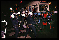 """Youth from the """"Blitz-house"""", an occupied house, protest and clash with police. Oslo, Norway, probably 1988"""