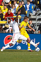 27 MARCH 2010:  Nana Attakora of Toronto FC (3) and Robbie Rogers of the Columbus Crew (18) during the Toronto FC at Columbus Crew MLS game in Columbus, Ohio on March 27, 2010.